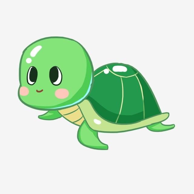Cartoon Hand Painted Cute Little Turtle Marine Life, Green ...