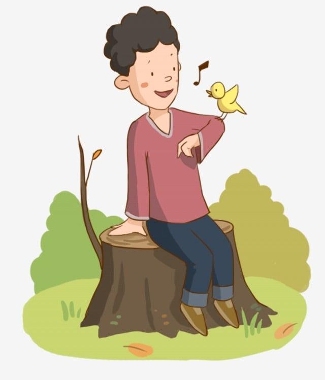 Tangan Dicat Anak Kecil Dan Burung Anak Laki Laki Burung Yang Lucu Jatuh Tunggul Pohon Karakter Kartun Png Transparan Gambar Clipart Dan File Psd Untuk Unduh Gratis
