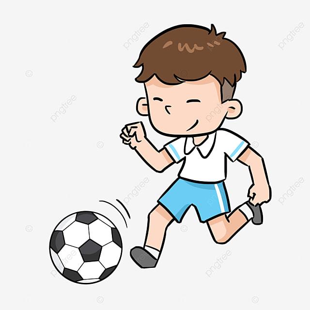 Hand Gezeichnet Fussball Spielen Junge Abbildung Sport