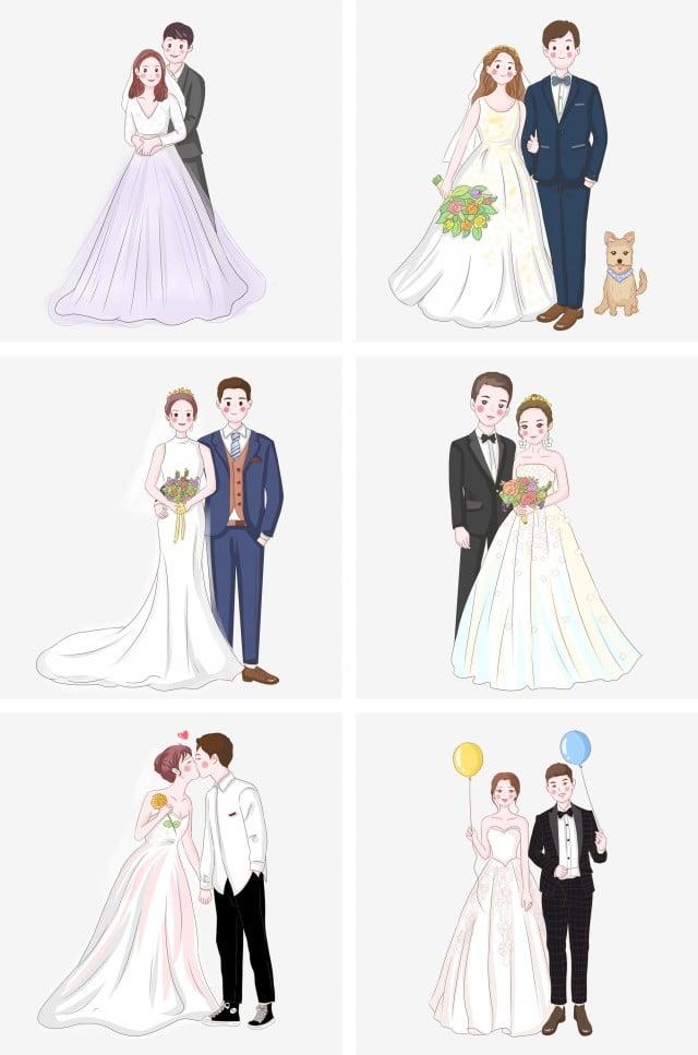手描き 結婚式 新郎新婦 風船を持って アニメアニメ 結婚式