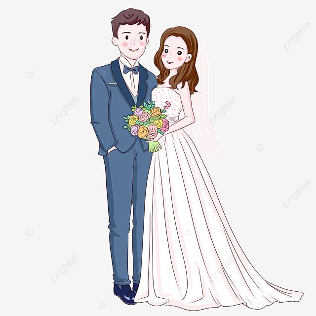 ハンドメイドの結婚式の花嫁と花婿のイラスト アニメアニメ 新郎新婦
