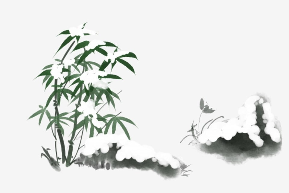 Ink Snow Velvet Bamboo Snow Fluff Lotus Leaf Illustration