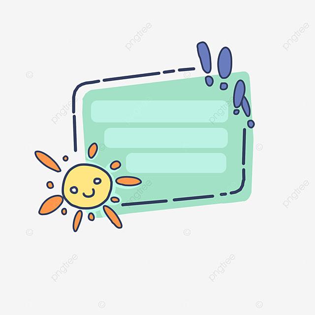 Lovely Sun Cartoon Frame, Hand Painted, Illustration, Cute Cartoon Border PNG and PSD