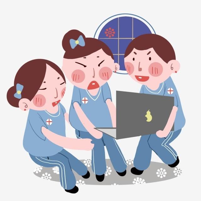 医療キャラクターの手描きイラスト ブラックコンピューター 青い弓 弓