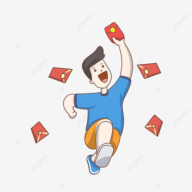Mobile Phone Grab Red Envelope Cartoon Boy Character Illustration