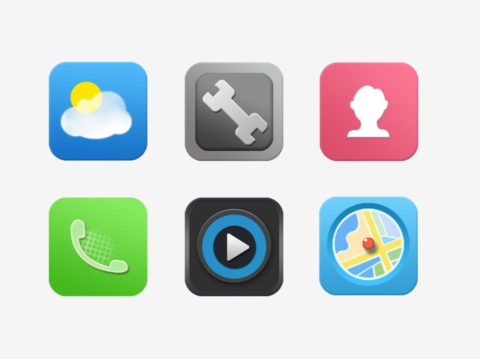 手機圖標 Icon 天氣 設置, 天氣, 視頻播放器, 地圖 PNG和PSD圖片素材