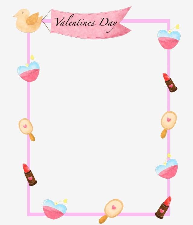 Red Lipstick Pink Flowers Cartoon Border Hand Drawn Valentine Border