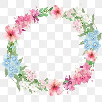 beautiful border pink flowers blue flower, Flower, Fresh Border, Flower Border PNG and PSD