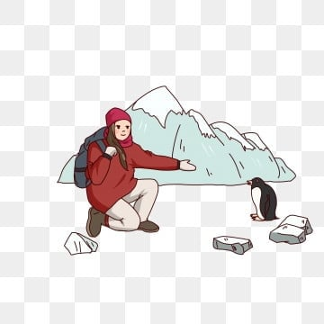 little penguin winter travel antarctic travel tourism, Hand Drawn Snow Mountain, Cold Winter, Winter Trip PNG and PSD