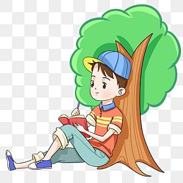 Children Reading a Book Under Tree - Download Free Vectors, Clipart  Graphics & Vector Art