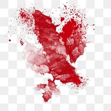 watercolor red bloodstain splashing ink, Abstract, Decoration, Bloodstain PNG and PSD illustration image