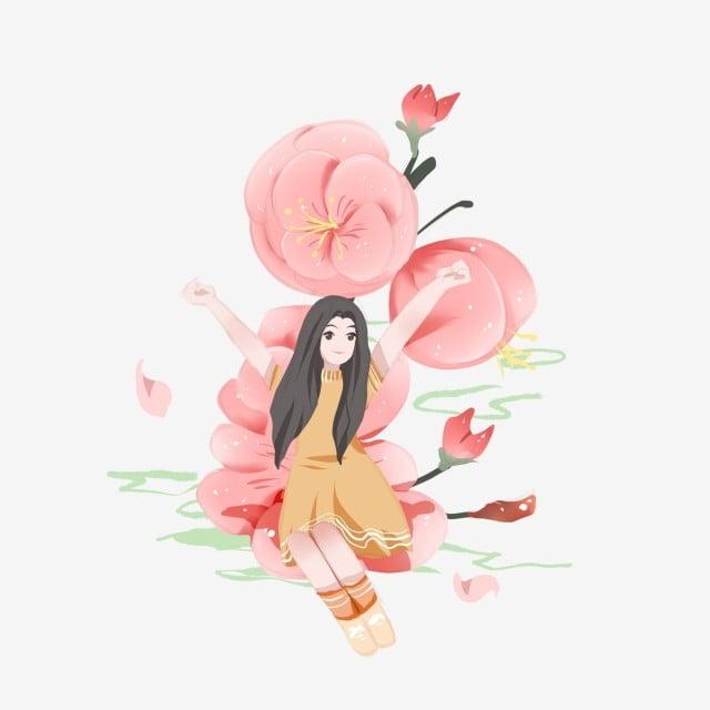 Estetik Tangan Dicat Lichun Spring Bunga Bunga Mekar Gadis