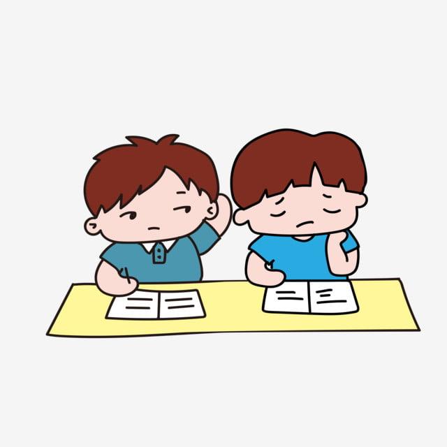 Gambar Ilustrasi Pelajar Pelajar Kartun Yang Dilukis Dengan Tangan Sekolah Pemeriksaan Peperiksaan Sekolah Png Dan Vektor Untuk Muat Turun Percuma