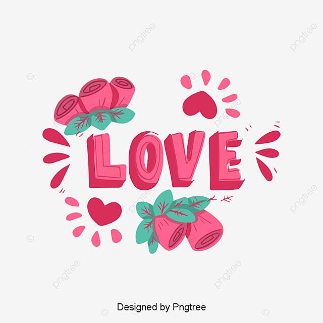 c47e79515 Aquarela Pintado à mão Flores Vermelho Amor Amor Amor Letra cursiva  inglesa