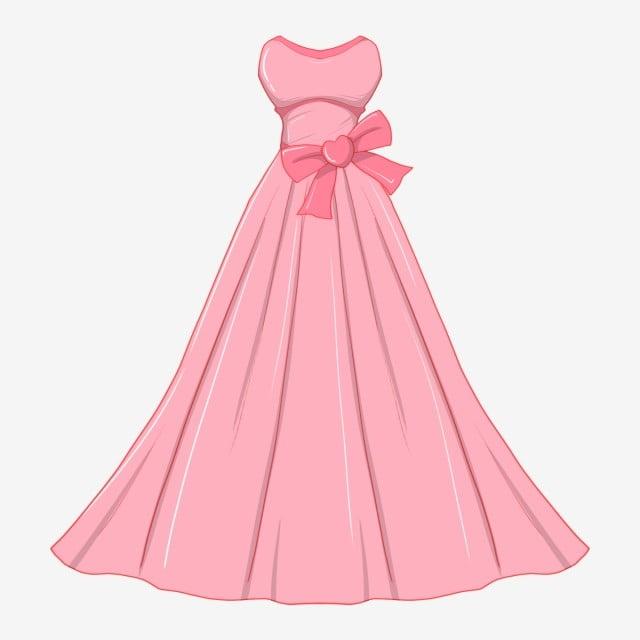 Gaun Pengantin Yang Dicat Ilustrasi Pakaian Perkahwinan Merah Jambu
