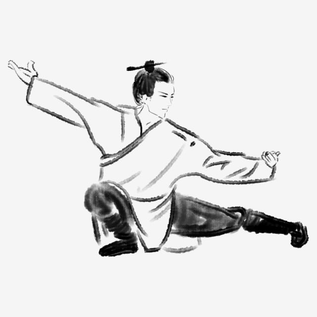 رجل الحبر فارس الشعب تاي تشي ممارسة فارس أبيض وأسود رجل الحبر النمط القديم Png وملف Psd للتحميل مجانا