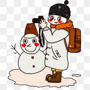 cartoon winter travel character brown travel bag, Snowflake, Winter, Take A Photo PNG and PSD
