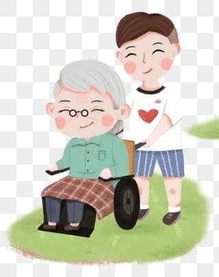愛の慈善団体 尊敬する 老人 愛を与える, 小さな男の子, 緑の芝生, 芝生 PNGとPSD