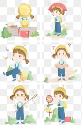 travel collection illustration beautiful little girl travel character illustration little girl, Red Suitcase, Yellow Hat, Cartoon Character Illustration PNG and PSD