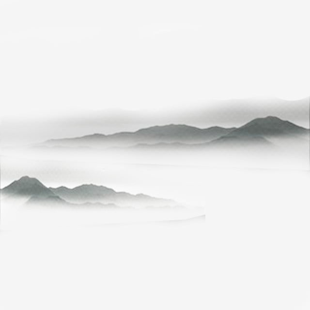 chinese style ink painting far mountain water cloud