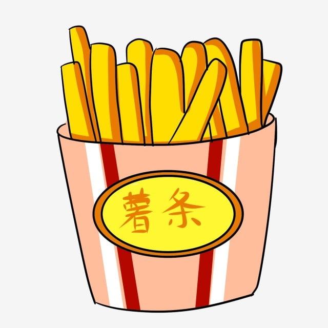 Dor Dessiné à La Main Créatif Frites Nourriture Snack