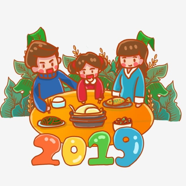 Año Nuevo Reunion Reunión Familiar Familia De Tres Familia Rojo