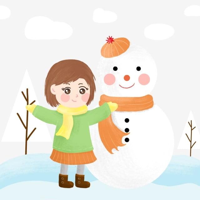 Invierno Invierno Muñeco De Nieve Niña Haciendo Un Muñeco De Nieve Dibujado A Mano De Dibujos Animados Muñeco De Nieve Mano Png Y Psd Para Descargar Gratis Pngtree