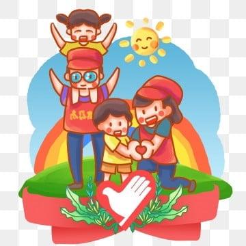 ヤングケア 高齢者への敬意 小さい子 心より, 民生, 虹, ボランティア PNGとPSD