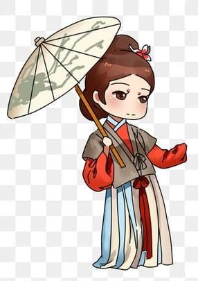中國風女性角色 復古風 古風女 古裝女, 中國風女性角色, 油紙傘, 復古風 PNG和PSD圖片素材 插畫圖片