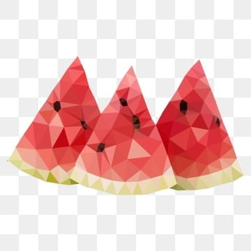 hand painted low polygon lowpoly style food, Fruit, Watermelon, Summer PNG and PSD
