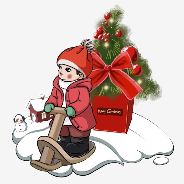 Christmas Giving Clipart.Christmas Wearing A Christmas Hat Child Christmas Night