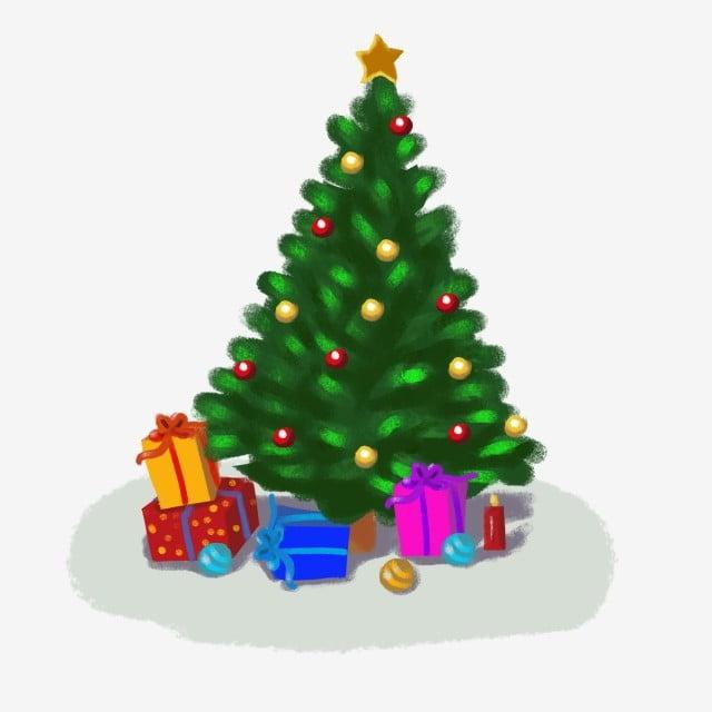 Mão Desenhada Cor árvore De Natal Caricatura Fundo