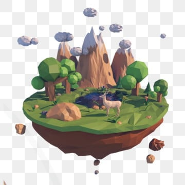 lowpoly style editable source file 3d, Three-dimensional, Free Buckle, Islands PNG and PSD