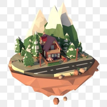 three dimensional lowpoly style suspension free buckle, Islands, Night Scene, 3d PNG and PSD