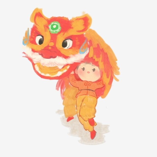 6fea35de0 flat coating illustration red fire traditional culture, Lion Dance, He Xi  Xinchun, Singing