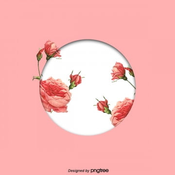 pink stereo frame rose element, Aestheticism, Round Box, Origami PNG and PSD