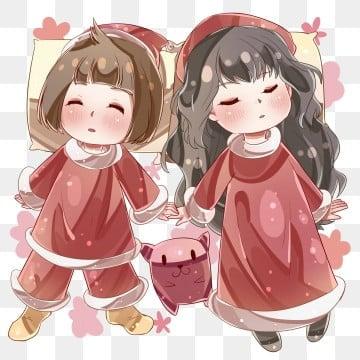 9646fab6343e PNG PSD. Ragazza in cappotto di cotone rosso Dormire insieme nella notte di  Capodanno Carino bambine felici Immergiti