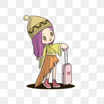 winter travel travel q version character, Hand Painted, Cartoon, Illustration PNG and PSD