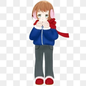 winter winter character little girl, Scarf, Gloves, Earmuffs PNG and PSD
