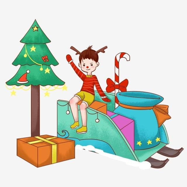 Christmas Giving Clipart.Christmas Little Boy Collects A Bunch Of Presents Christmas