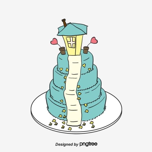 可愛いアニメの手描き小家結婚式ケーキのイラスト要素 アニメ かわいい