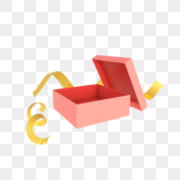 Open gift box. Red open gift box with green and golden ribbon. white  background. vector available.