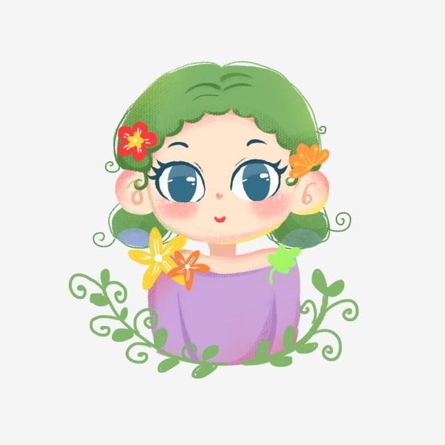 Fairy tail summer. Cartoon hand drawn girl