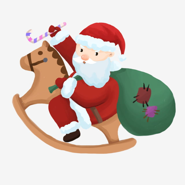 Christmas Horse Cartoon.Christmas Christmas Riding A Wooden Horse Trojan Horse