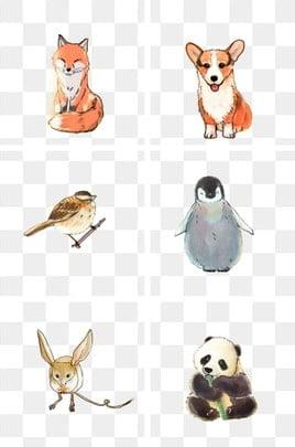 動漫動物 動物裝飾 卡通動畫 動漫, 企鵝, 動物, 手繪水彩繪本卡通動物 PNG和PSD圖片素材