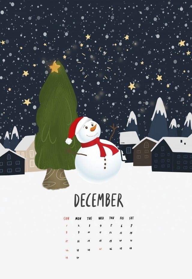 Psd December 2019 Calendar 2019 Calendar December Illustration Winter Snow Scene Night