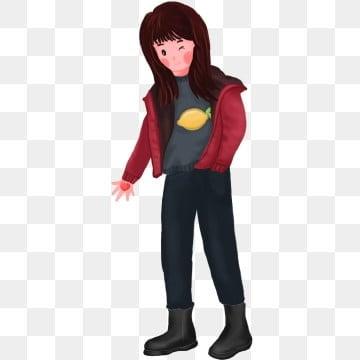 b3a17f982a44 PNG PSD. Ragazza in cappotto rosso con i capelli lunghi Cartoon ragazza  cool Bella bambina Ragazza fresca disegnata