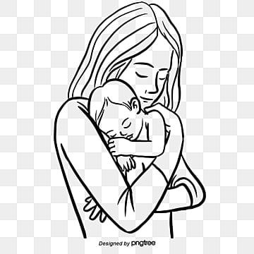 hand drawn illustrations of mothers and babies on mothers day, Mom, Baby, Children PNG and PSD