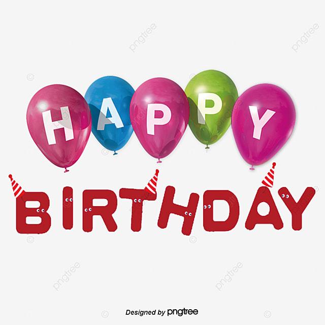 Parabéns Feliz Aniversário Balão Em Inglês Efeito de texto PSD Para  download gratuito