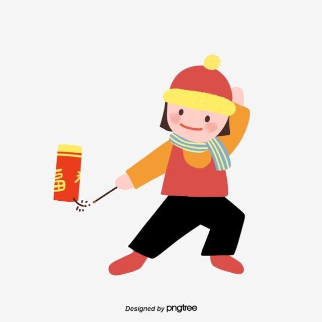 赤い春節に爆竹を鳴らす女の子の簡単なイラストの素材 おめでたい 女の子